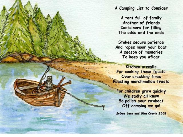 Camping is a joint project combing my sketch and poem with my sister, Gina's, watercolor techniques
