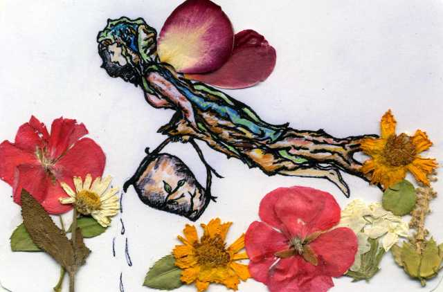 Garden Angel was created with a sketch and pressed flowers from my garden.