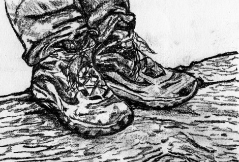 Created from a picture of my hiking boots while standing on a log in Yosemite