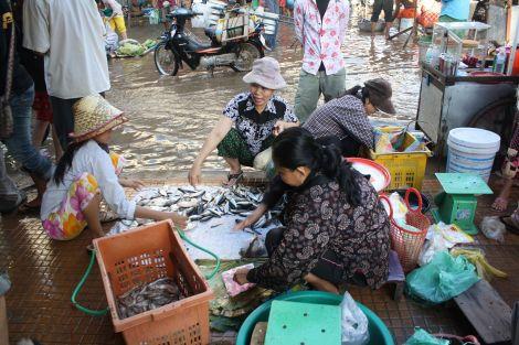 Cambodian women selling at market
