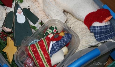 Wooden Santa  and Sewn Snowman