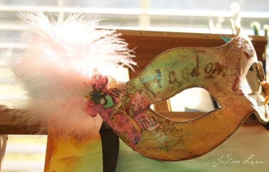 Vintage Mask on Wooden Easel