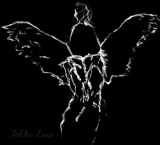 On Tattered Angel's Wings Inverted Pencil Sketch