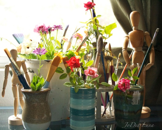 Flowers, Paint Brushes, and Drawing Figurines