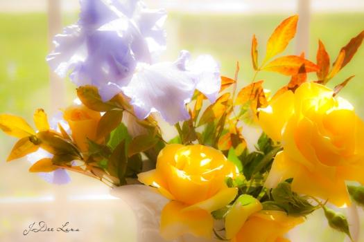purple iris, yellow roses