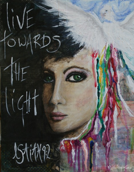 live towards the light mixed media