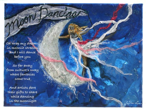 Moon Dancing Mixed Media with Poem