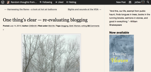One things clear--re-evaluating blogging Christine Grote