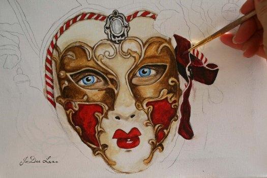 The Pretender Masquerade Mask Acrylic in Process