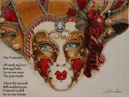 The Pretender Masquerade Mask Acrylic Painting and Poem