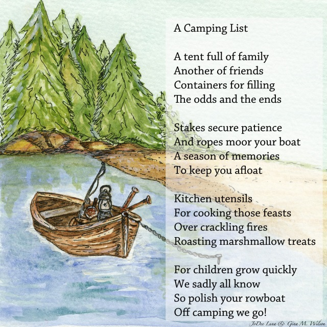 A Camping List Watercolor with Poem