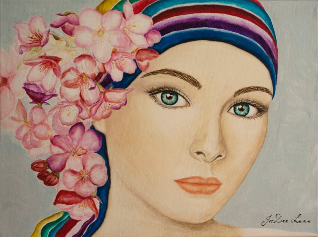 Blossom with Multi-colored Scarf Acrylic by JoDee Luna 926