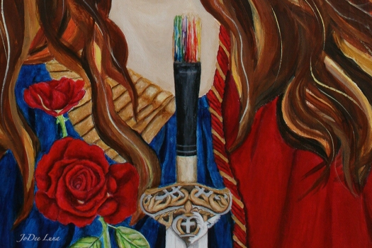 Paintbrush and Rose by JoDee Luna