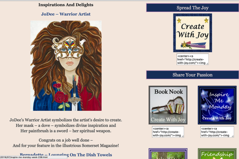 Warrior Arttist Featured on Create With Joy