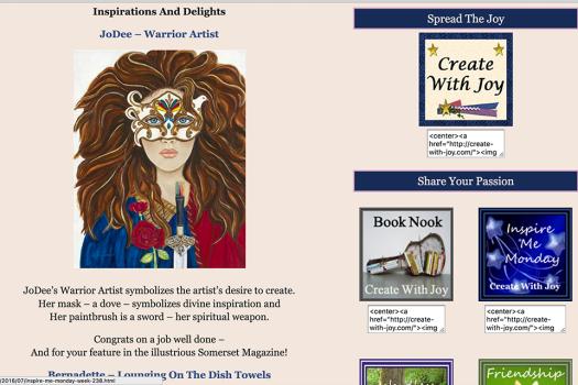 Warrior Arttist Featured on Create With Joy