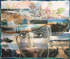 Pathways to the Sea is a mixed media portrait that visualizes treasured places and experiences where oceans meet beaches.
