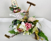 White Watering Can Rusty Spring Floral 1024